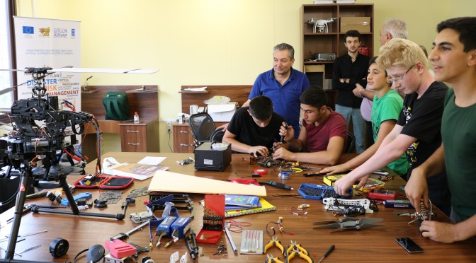 """IN 2 MONTHS THE STUDENTS OF UAV (UNMANNED AERIAL VEHICLES) LABORATORY  OF STEPANAVAN """"YOUTH INNOVATION RESOURCE CENTER""""  WILL BE ABLE TO MODEL, PREPARE AND CONTROL UAVS."""